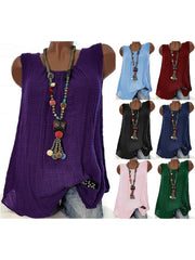 Women  Linen Causal Tops Round Neck Solid  Sleeveless Tanks