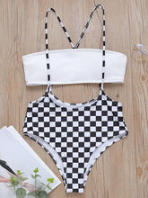 Plaid Strapless Lace-up Bikini Swimsuit