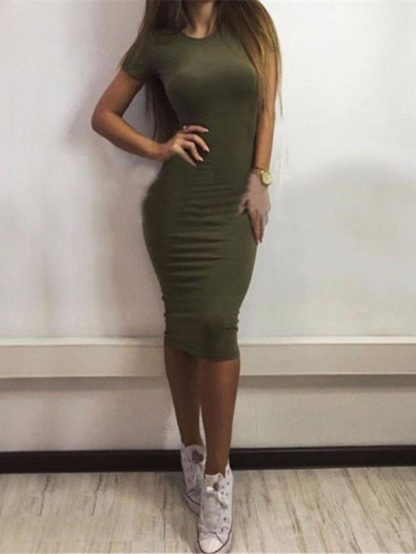 Solid Bodycon Midi Dresses