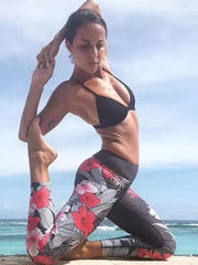 Sports Floral Printed Wrap Yoga Pants