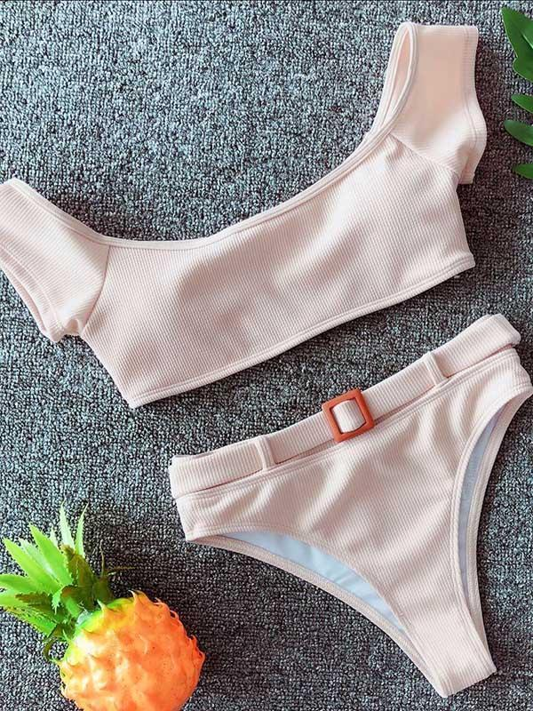 Bandeau Belt Plain Bikinis Swimwear
