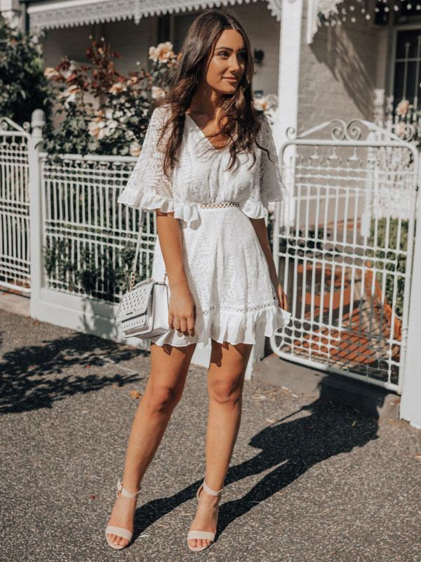 Lace Ruffled Sleeve V-neck Dress