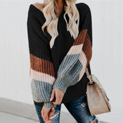 Casual V-Neck Lantern Sleeve Striped Colorblock Sweater