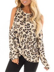 Leopard off-the-shoulder loose long-sleeved T-shirt