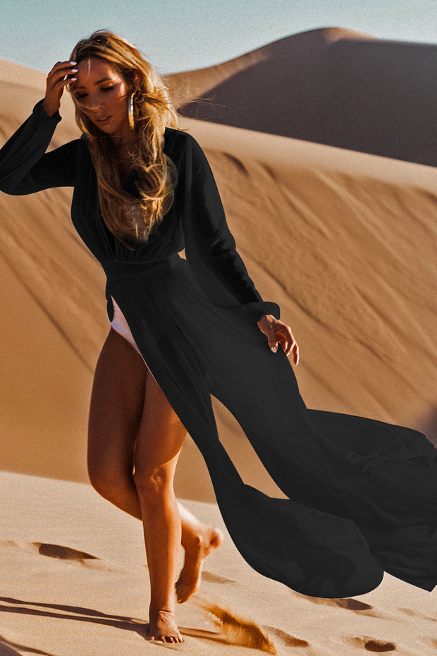 Sexy Deep V Neck High Waist See Through Beach Cover Ups