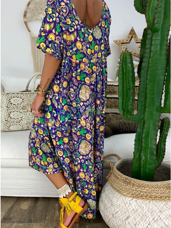 Loose Printed Round Neck Maxi Dress