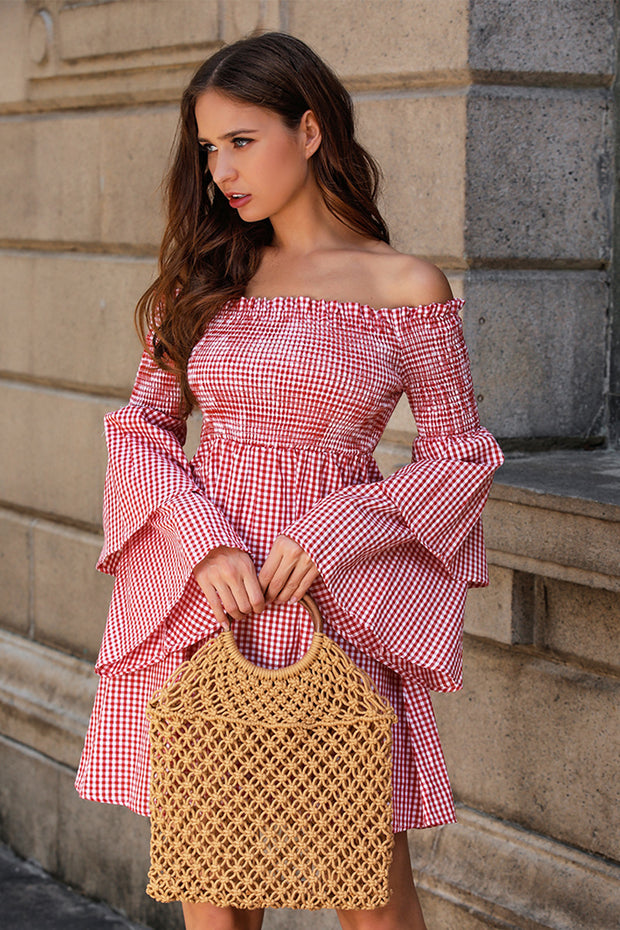 Slash Neck Ruffles Off Shoulder Plaid High Waist Mini Dress