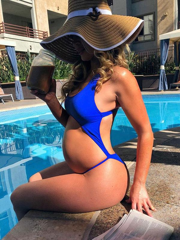 Maternity Solid Backless One Piece Bikini Swimsuit