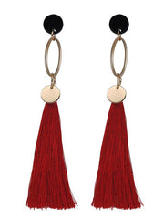 Fashion Alloy-ring Long Tasseled Earrings