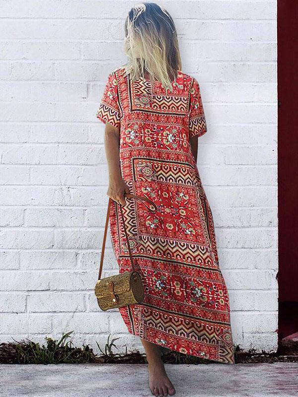 Plus Size Printed Short Sleeves Maxi Dress