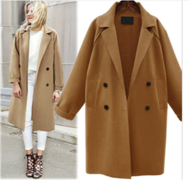 Wool Coat Women's Long Windbreaker Woolen Coat