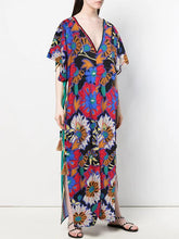 Tasseled Decoration Floral Kaftans Dress