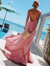 Simple Backless Split-side Maxi Dress