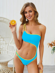 Contrast Hollow One Shoulder One Piece Swimsuit