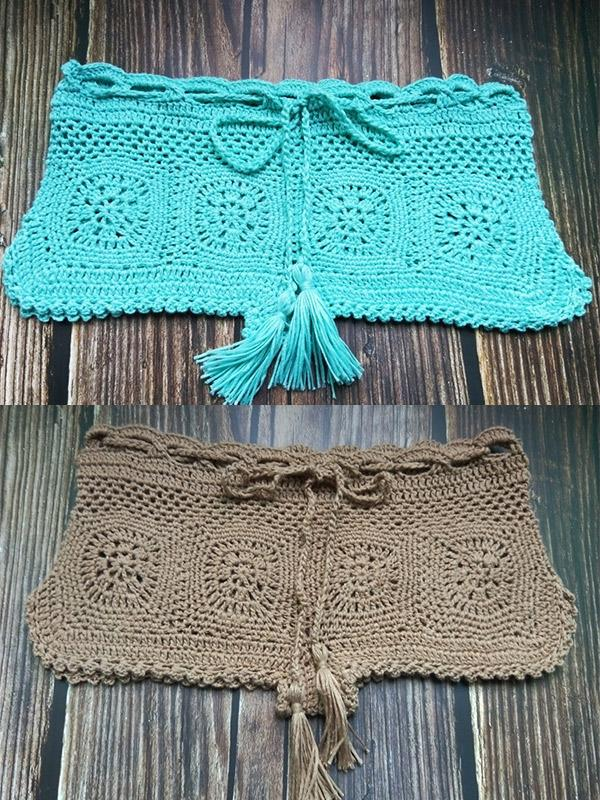 Beach Solid Crochet Short Bottom
