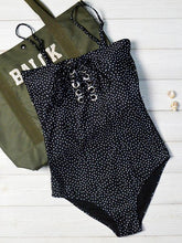 Polka Dot Lace Up One Piece Swimsuit