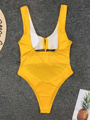 Solid Color Drawstring One-piece Swimsuit