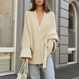 Autumn And Winter Beveled Single Button Fashion Deep V-Neck Sweater