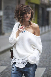 Sexy Off-Shoulder Long Sleeve Pure Colour Sweater