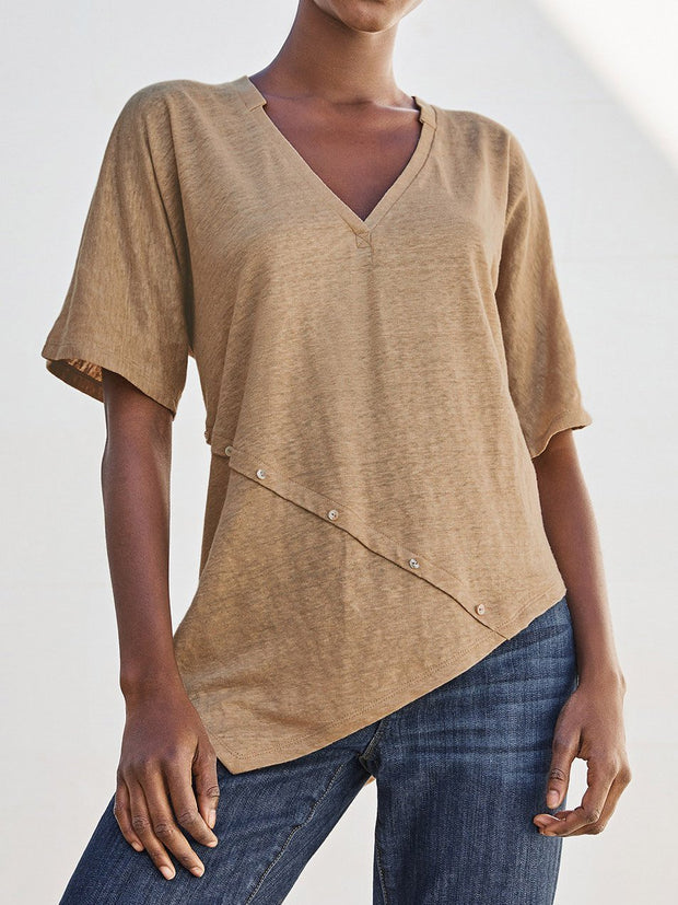 V Neck Casual Short Sleeve Buttoned Shirts & Tops