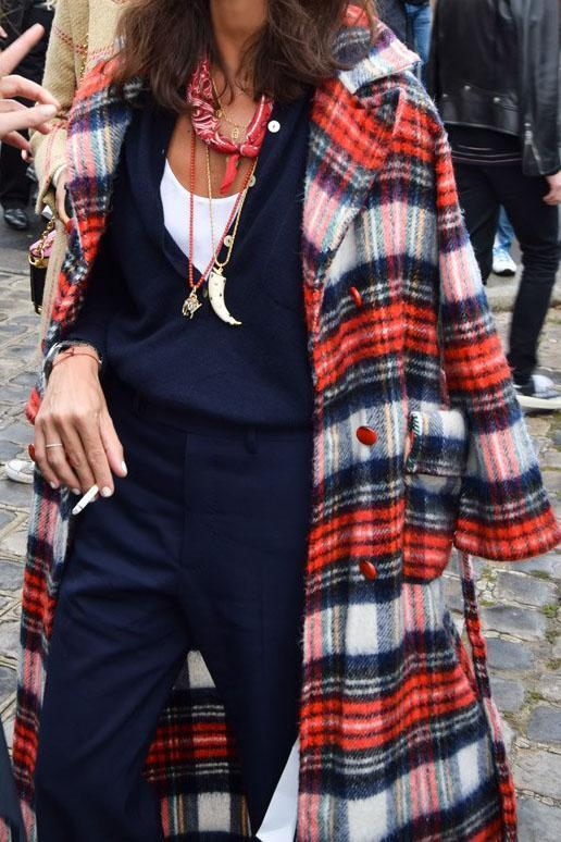 Fashion Lapel Red And Blue Check Printed Woolen Long Coat