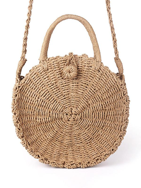Round Straw Plaited Article Bohemia Bag