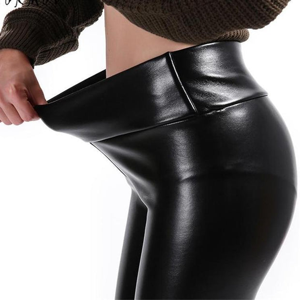 Velvet Lined Leather Leggings - Plus Sizes Available