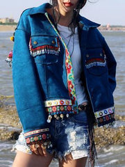 Beautiful Blue Embroidered Stand Collar National Style Jacket Tops