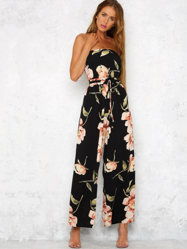 Bohemia Floral Off Shoulder Wide Leg Jumpsuits