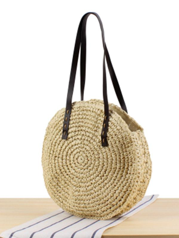 Simple Round Straw Plaited Article Bohemia Bag