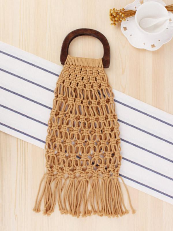 Fishing Net Wooden Handle Tasseled Tote Bag