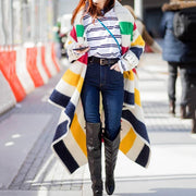 Fashion Striped Long Sleeve Overcoat
