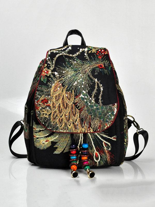 Peacock Embroidered Canvas Women's Backpack