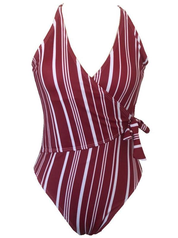 Striped Wrap Knot Side One-piece Swimsuit