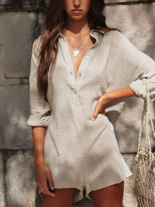 Apricot Cotton Casual One-Pieces