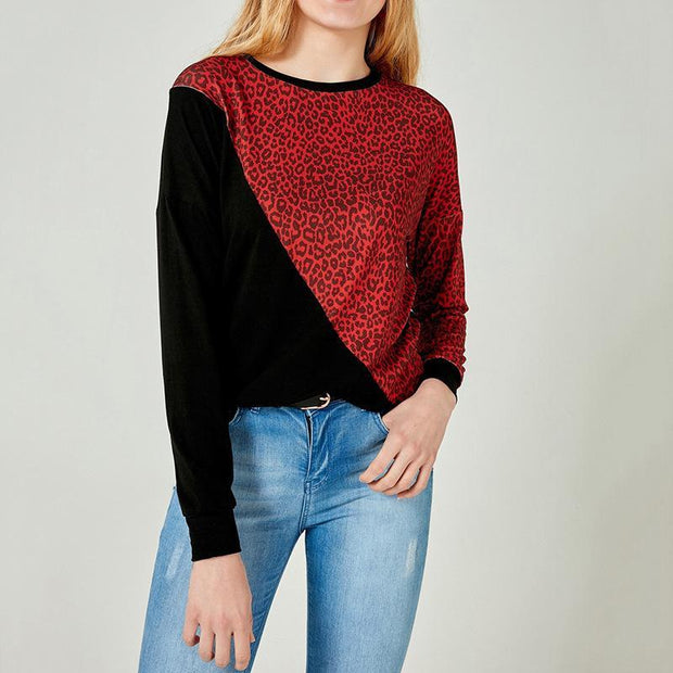 Leopard Print Stitching Long Sleeve Round Neck Ladies Shirt T-Shirt