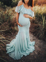 Maternity Cold Shoulder Wrap Maxi Dress