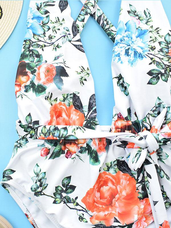 Flower Printed Tie One-piece Swimsuit