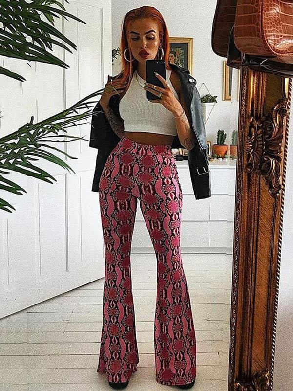 Snakeskin Printed Bell-bottomed Pants