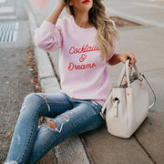 Simple solid color round neck long sleeve letter Sweatershirt