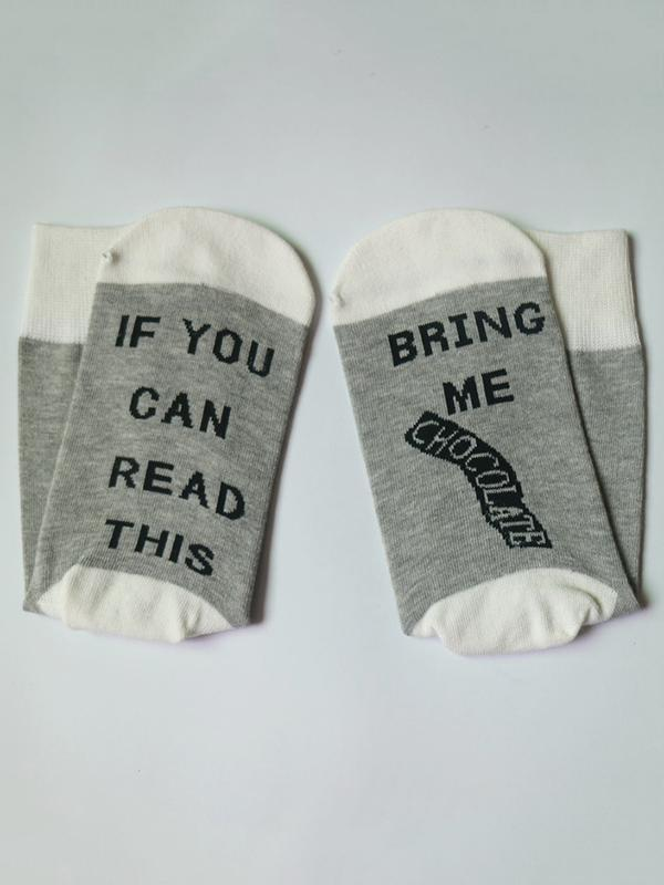Hit Letter-Printed Medium Sock