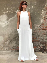 White Sleeveless Zipper Split-joint Long Dress