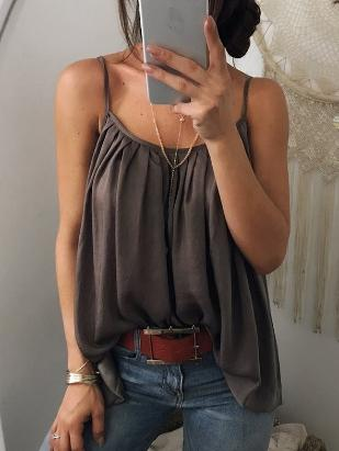Sexy Loose Spaghetti-neck Solid Vest Top