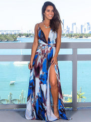Printed Spaghetti-neck Belted Maxi Dress