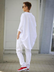 White High-low V-neck T-shirt