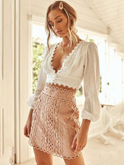 Bare Midriff Lace Blouses&shirts Tops