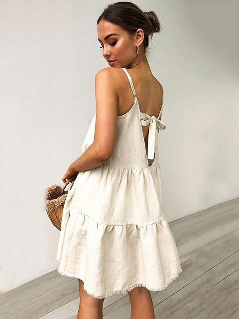 Simple Loose Ruffled Solid Mini Dresses