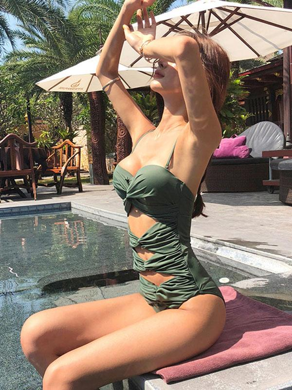 Army-green Backless One-piece Swimsuit