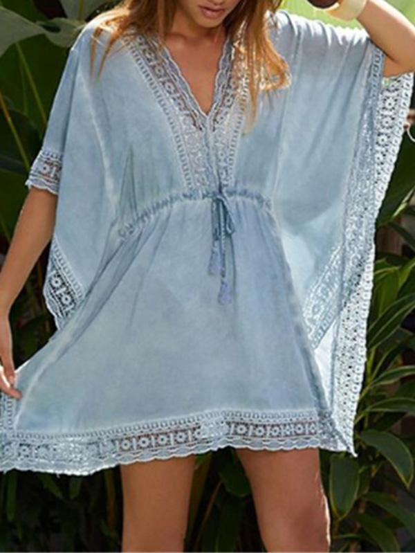 Lacy Split-joint Waisted Kaftan Cover-up