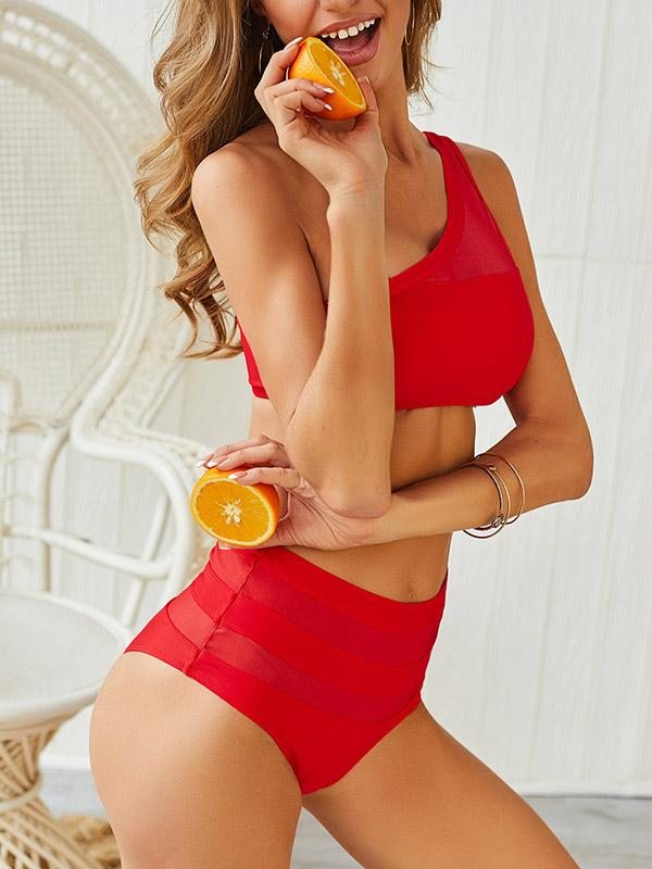 High Waisted Plain Bikini  One Shoulder Swimsuit